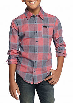 Ocean Current Plaid Button Down Woven Shirt Boys 8-20