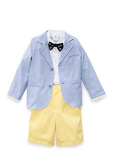 J. Khaki 3-Piece Seersucker Jacket Short Set Boys 4-7