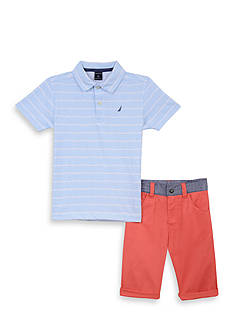 Nautica 2-Piece Stripe Polo & Short Set Boys 4-7