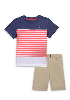 Nautica 2-Piece Stripe Tee & Short Set Boys 4-7