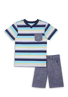 Nautica 2-Piece Stripe Shirt & Short Set Boys 4-7