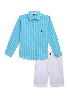 Nautica 2-Piece Woven Button-Front Shirt & Short Set Boys 4-7
