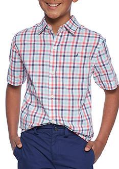 Nautica Plaid Woven Button-Front Shirt Boys 8-20