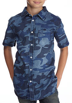Hollywood® The Jean People Camo Print Chambray Button-Front Shirt Boys 8-20