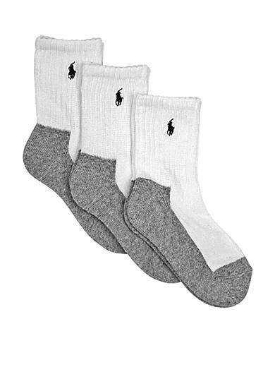 Ralph Lauren Childrenswear 3-Pack Grey Soled Crew Socks Toddler Boys
