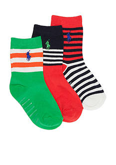 Ralph Lauren Childrenswear 3-Pack Fashion Stripe Crew Socks Toddler Boys