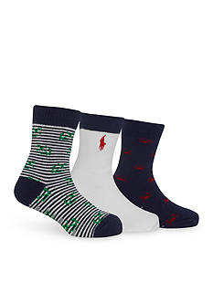 Ralph Lauren Childrenswear 3-Pack Nautical Anchor Socks