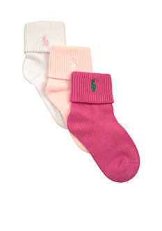 Ralph Lauren Childrenswear 3-Pack Flat Knit Sock Toddler Girls