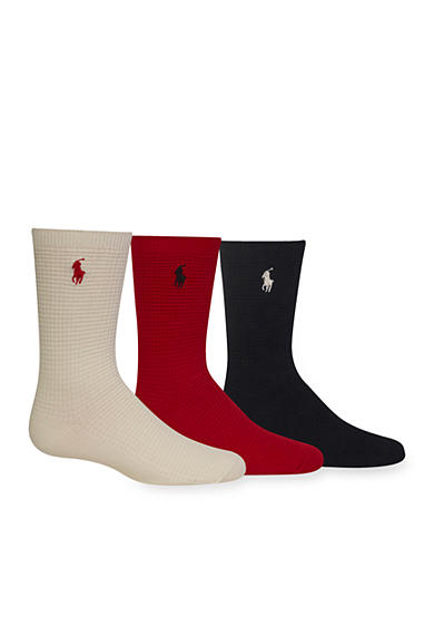 Ralph Lauren Childrenswear 3-Pack Waffle Socks Girls 4-16