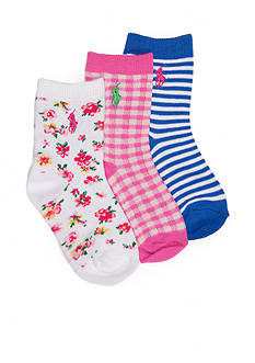 Ralph Lauren Childrenswear 3-Pack Spring Floral, Stripe, and Gingham Socks