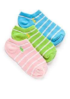 Ralph Lauren Childrenswear 3-Pack Low-Cut Birdseye Stripe Socks Girls 4-16