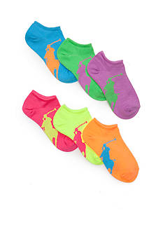 Ralph Lauren Childrenswear 6-Pack Big Pony Athletic Socks Girls 4-16