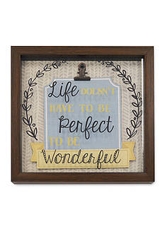 New View 'Life Doesn't Have to be Perfect to be Wonderful' Glass Shadowbox