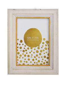 New View White & Gold Frame 5x7 Frame