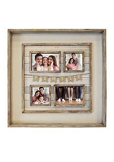 new view family burlap flag graywash collage frame