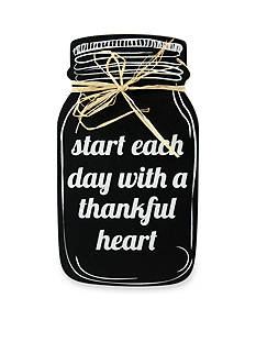 Fetco Home Decor Start Each Day With A Thankful Heart Mason Sentiment Plaque