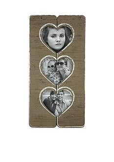 Fetco Home Decor Triple Hearts Driftwood Collage Frame