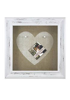 Fetco Home Decor Burlap Open Frame Heart Pin Board