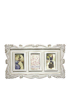 Fetco Home Decor Britte Triple 4 x 6 Weathered Ivory Frame