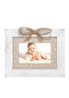Malden Dot Burlap Mat and Bow 4x6 Frame - White