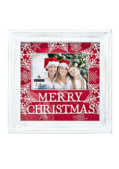 Malden International Designs Merry Christmas Burlap Matte with Printed Glass 4x6 Frame