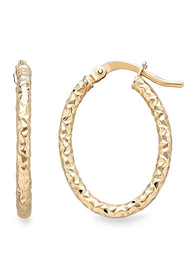 Belk & Co. 14k Yellow Gold Oval Hoop Earrings