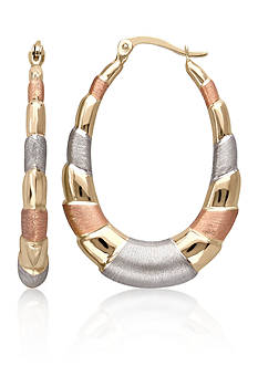 Belk & Co. 14k Three-Tone Gold Oval Hoop Earrings