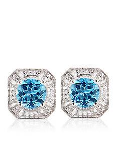 Belk & Co. Sterling Silver Blue Topaz and Diamond Antique Earrings
