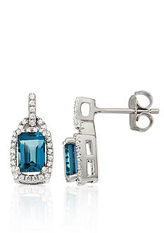 Belk & Co. London Blue Topaz and Diamond Earrings in Sterling Silver