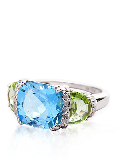 Belk & Co. Sterling Silver Blue Topaz, Peridot and Diamond Ring