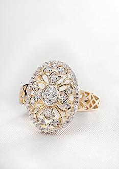 Diamond Oval Filigree Ring in 10k Gold