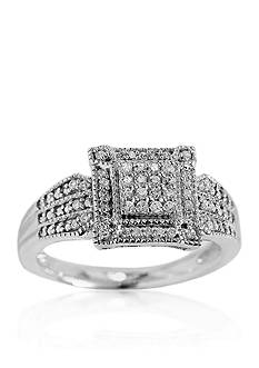 Belk & Co. Diamond Square Cluster Ring in Sterling Silver