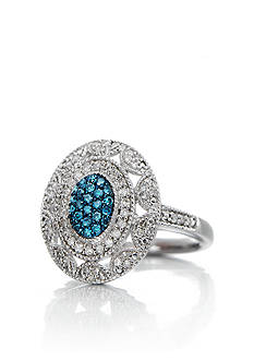 Belk & Co. Blue and White Diamond Oval Ring in Sterling Silver
