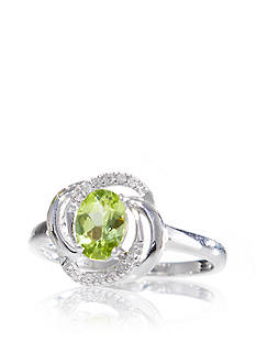Belk & Co. Sterling Silver Peridot and Diamond Swirl Ring