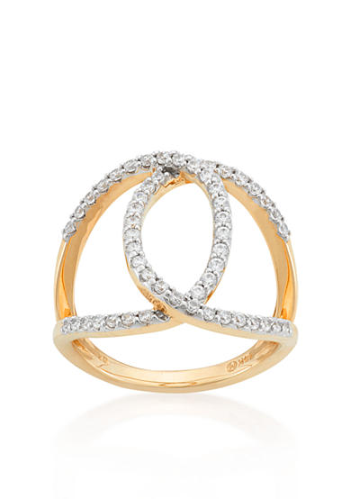 Belk co diamond open circle ring in 10k yellow gold belk for Belk fine jewelry rings