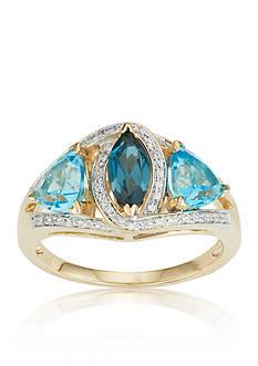 Belk & Co. London Blue Topaz, Swiss Blue Topaz, and Diamond Ring in 10k Yellow Gold