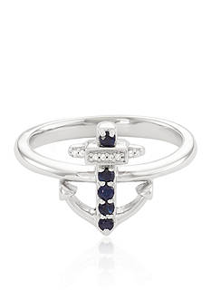 Belk & Co. Blue Sapphire and Diamond Anchor Ring in Sterling Silver