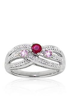 Belk & Co. Ruby and Pink Sapphire Ring in Sterling Silver