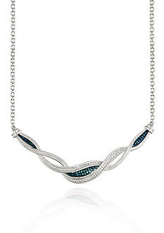 Belk & Co. White and Blue Diamonds Swirl Necklace in Sterling Silver