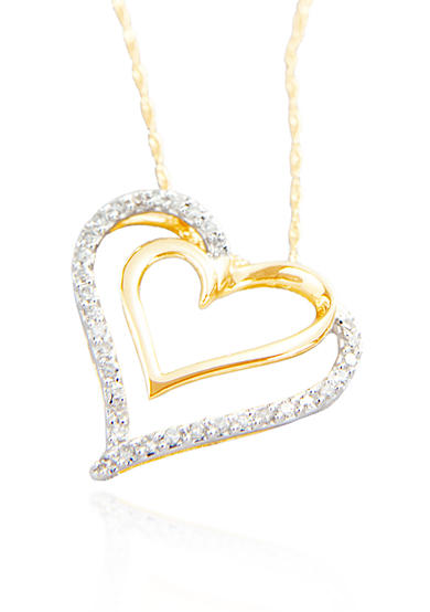 Belk & Co. 1/4 ct. t.w Double Diamond Heart Pendant in 10k Gold