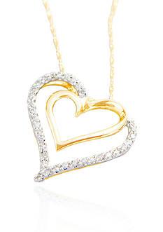 Belk & Co. 1/4 ct. t.w Double Diamond Heart Pendant in 10k Gold