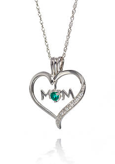 Belk & Co. Sterling Silver Emerald and Diamond Mom Pendant