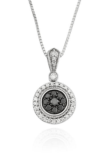 Belk & Co. White and Black Diamond Circle Pendant in Sterling Silver