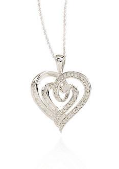 Belk & Co. Round Baguette Diamond Heart Pendant in Sterling Silver