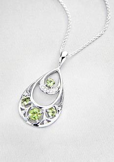 Belk & Co. Sterling Silver Peridot & Diamond Teardrop Pendant