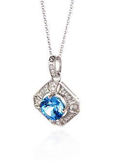 Belk & Co. Sterling Silver Blue Topaz and Diamond Antique Pendant