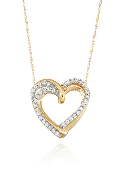 Belk & Co. Diamond Heart Pendant in 10k Yellow Gold