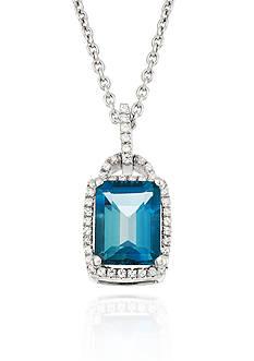 Belk & Co. London Blue Topaz and Diamond Pendant in Sterling Silver