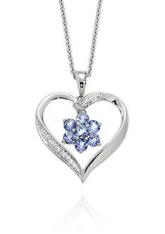 Belk & Co. Tanzanite and Diamond Flower Heart Pendant in Sterling Silver