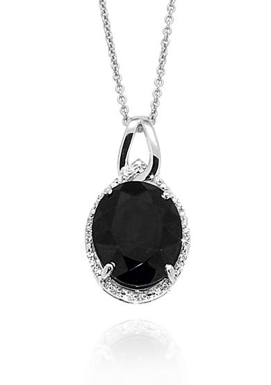 Belk & Co. Onyx & Diamond Oval Pendant set in Sterling Silver